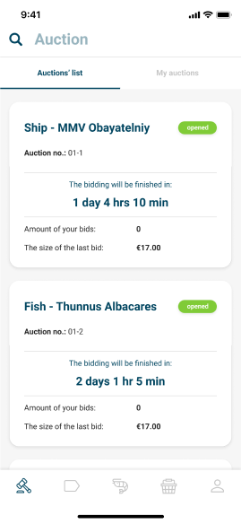 Track auction status